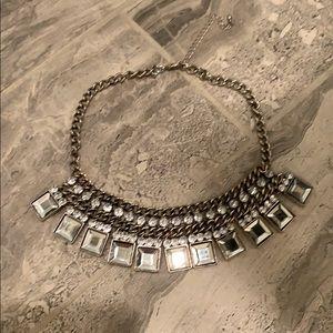 Rhinestone silver statement necklace